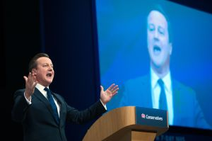 Prime Minister David Cameron addresses the Conservative Party conference at Manchester Central.
