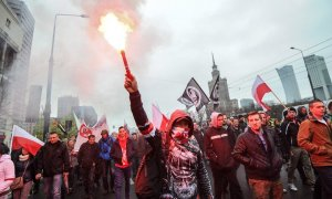 Poles against migrants protest